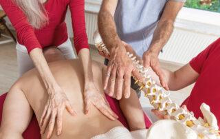 Massage Ausbildung: Massagetechniken der Rückenmassage werden demonstriert und gleichzeitig werden anatomische Fachkenntnisse vermittelt