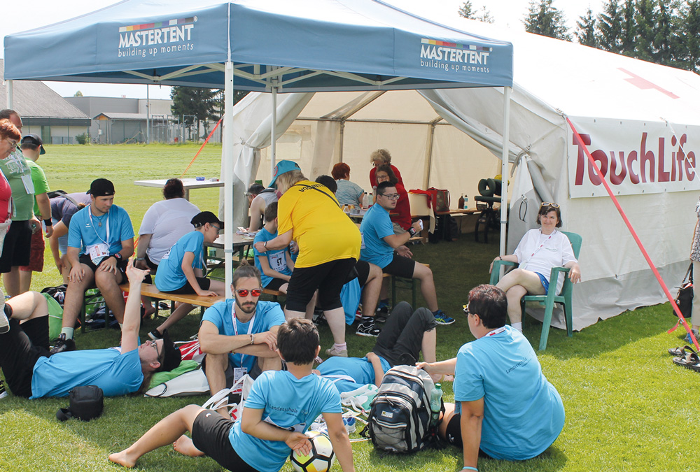 Massagezelt von TouchLife bei den Special Olympics Sommerspielen 2018